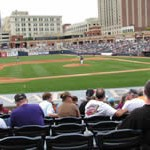 Sitting in Canal Park stadium in Akron watching the Aeros