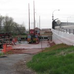 the preparation of the area to receive the new bridge