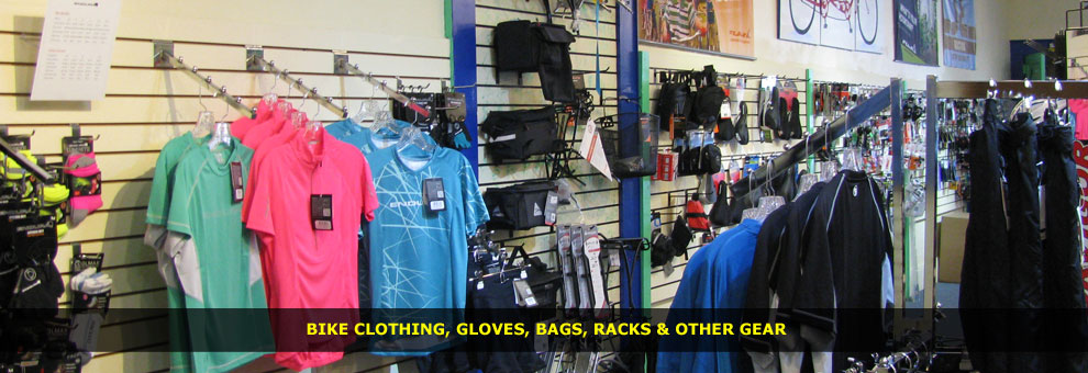 bike clothing, gloves, bags, racks and oher gear